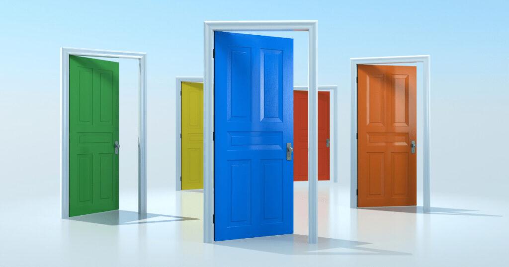 選択肢(複数のドアの画像)